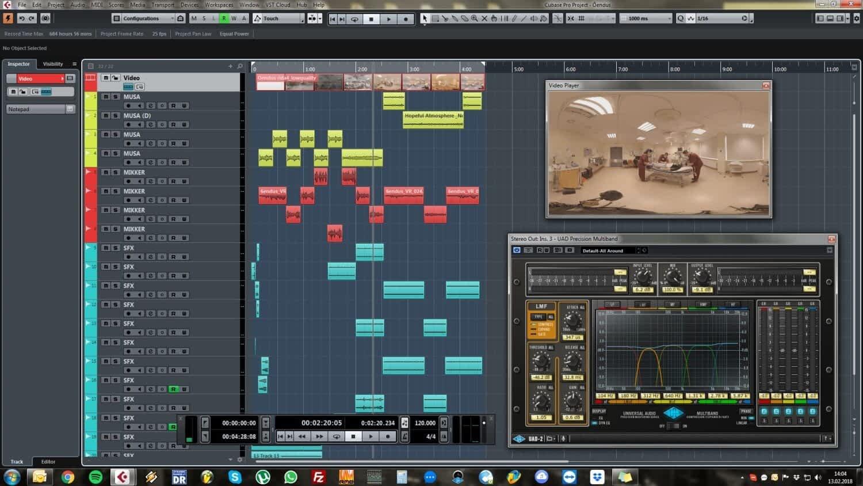 Cubase Pro helikujundus õenduse virtuaalreaalsus